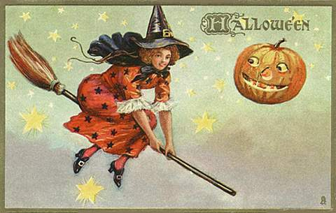 public-domain-vintage-halloween-witch-flying-with-stars